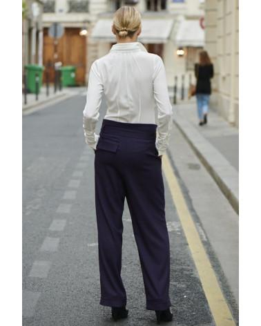 Chemise femme Ken Okada en voile coton rayé blanc manches courtes