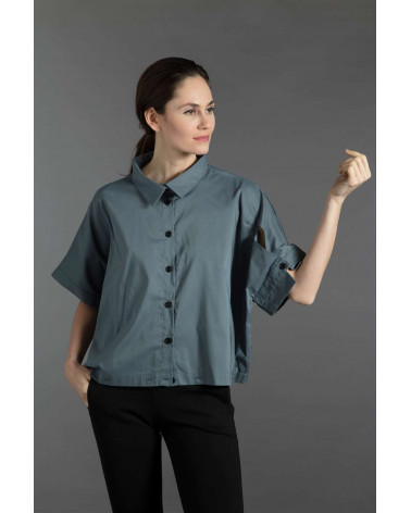Chemise femme Ken Okada originale laine rayée marine asymétrique