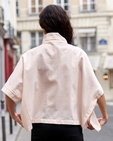Chemise femme Ken Okada cintrée soie noire originale chic