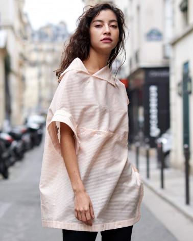 White stretch cotton Ken Okada asymmetric original elegant women shirt