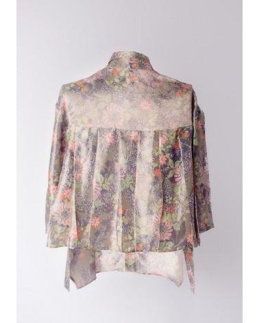 White Ken Okada stretch satin cotton double-face elegante women shirt