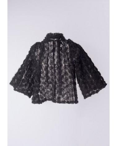 Veste femme Ken Okada laine grise chic manches bouffantes originales