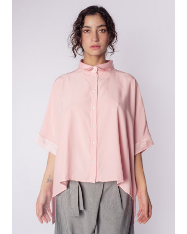 Pink quitted cotton Ken Okada double face elegant original women shirt