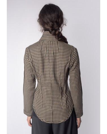 Chemise femme ANNE coton brillant gris à col liseré blanc