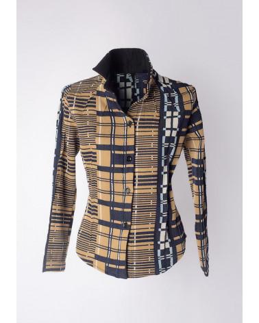 Blue navy silk Ken Okada double-face original chic women shirt