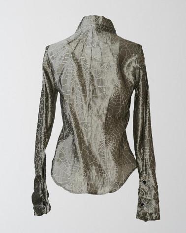 Glamourous printed Ken Okada dress in silk and black crepe