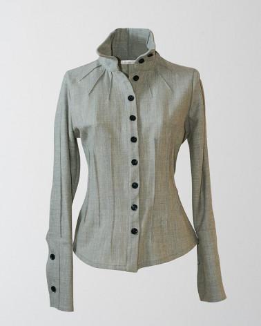 Pantalon droit femme JULIUS en lin/coton blanc et bas gris