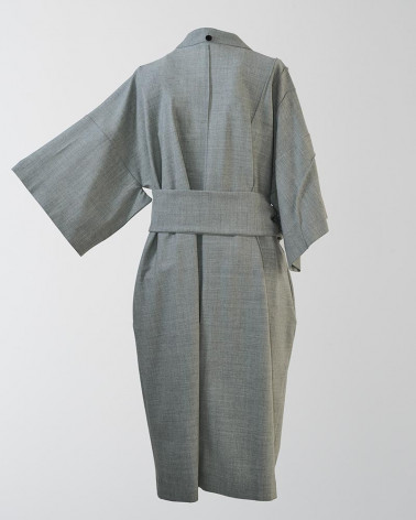 Pantacourt droit femme JULIUS en lin/coton blanc et détail gris