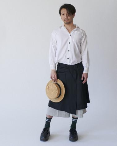 Manteau femme LUCIEN noir laine mélangée double face - Ken Okada