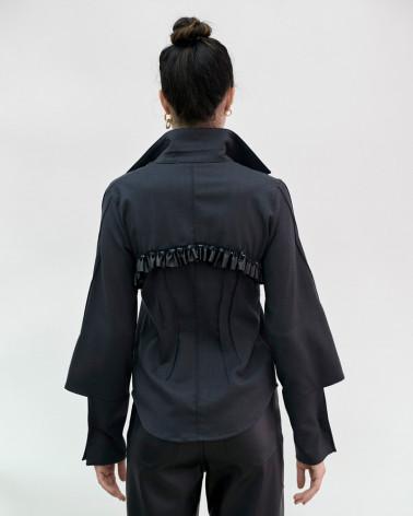 Black silk Ken Okada slim-fitted orignal chic women shirt