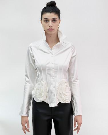 Chemise blanche  art de la chemise fleurs fait à la main