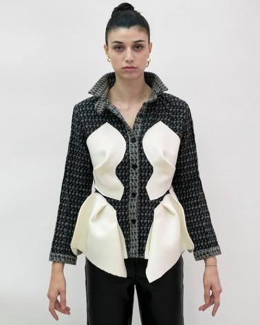 Surchemise grise blanc basques laine art de la chemise fait à la main