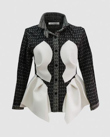 Robe LUNE voile noire avec motif broderies original