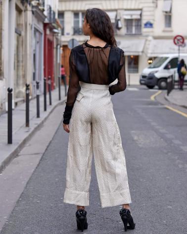 Chemise femme Ken Okada coton stretch blanc manches courtes chic
