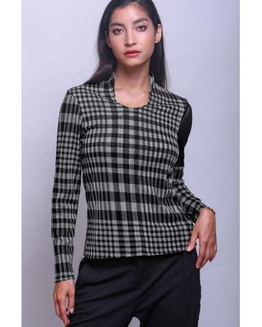 Blue satin cotton Ken Okada slim-fitted asymmetric original women shirt
