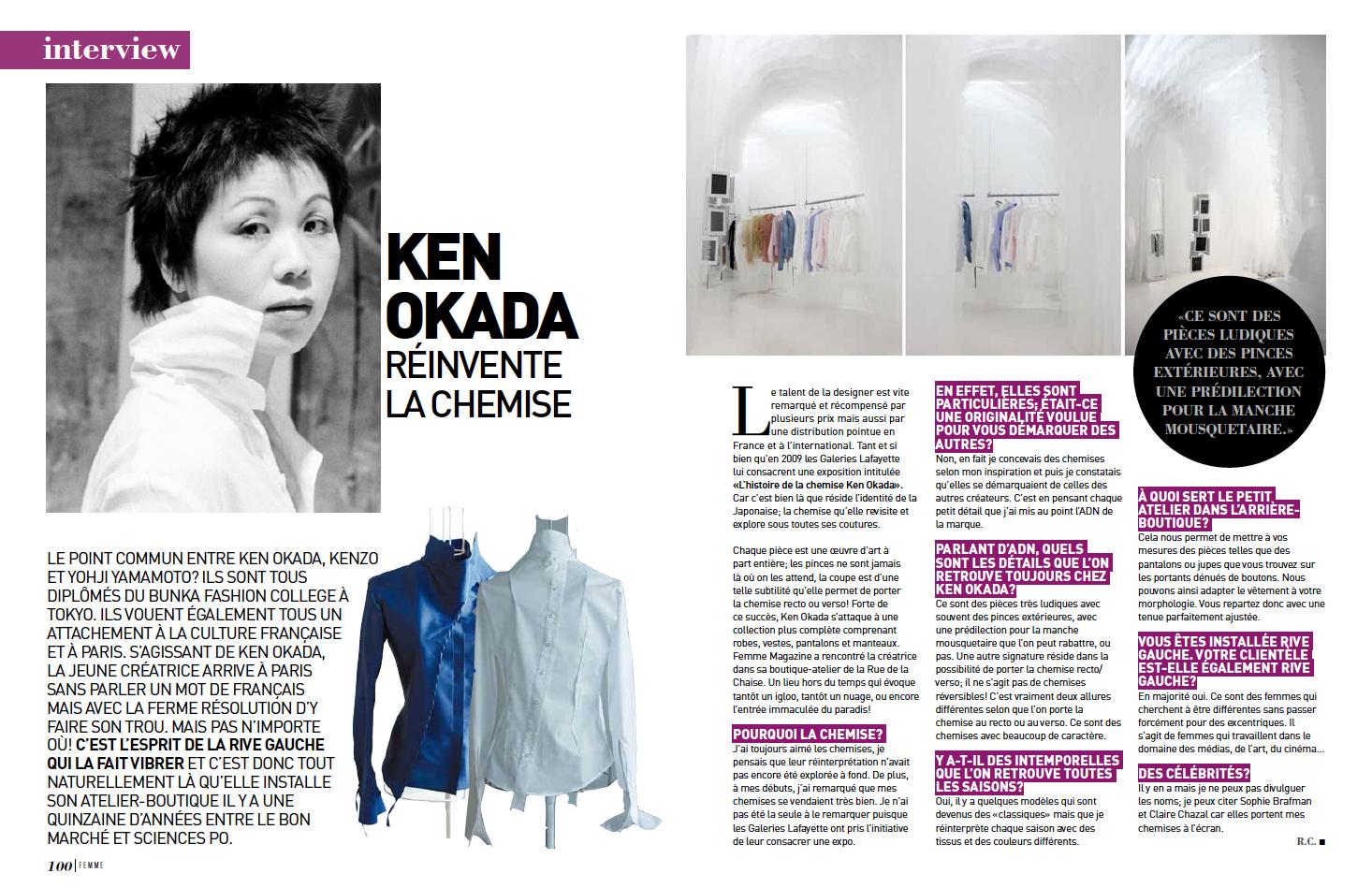 Parution : Présentation de la marque Ken Okada - Femme magasine 2016