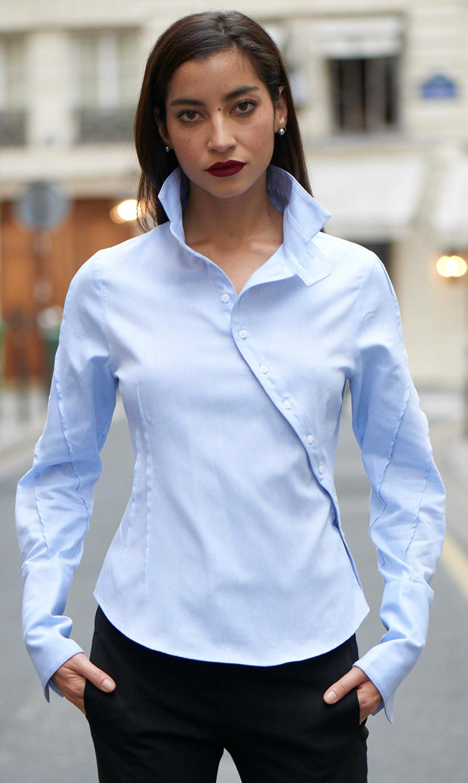 Look Ken Okada avec chemise bleu en coton